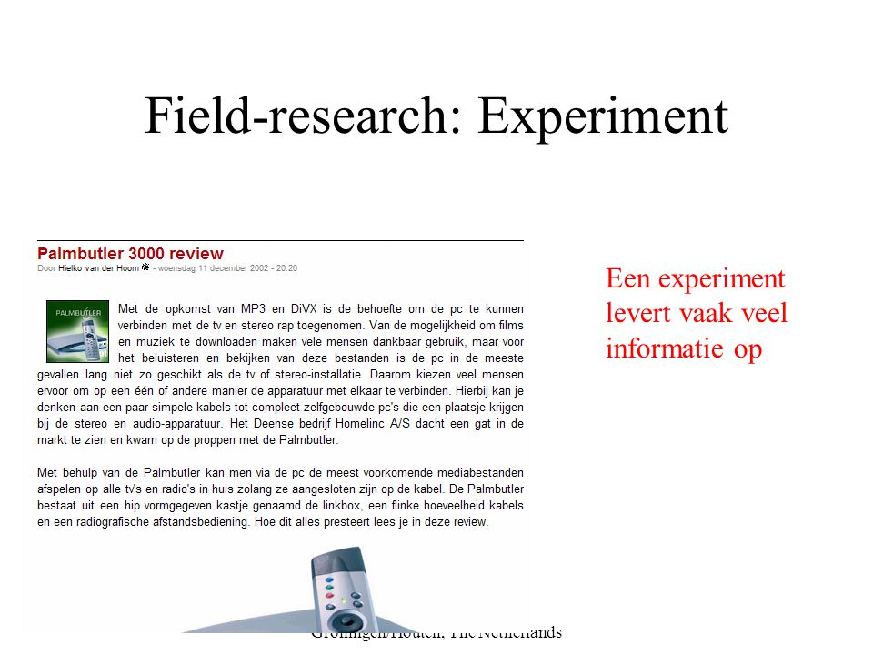 Field-research: Experiment