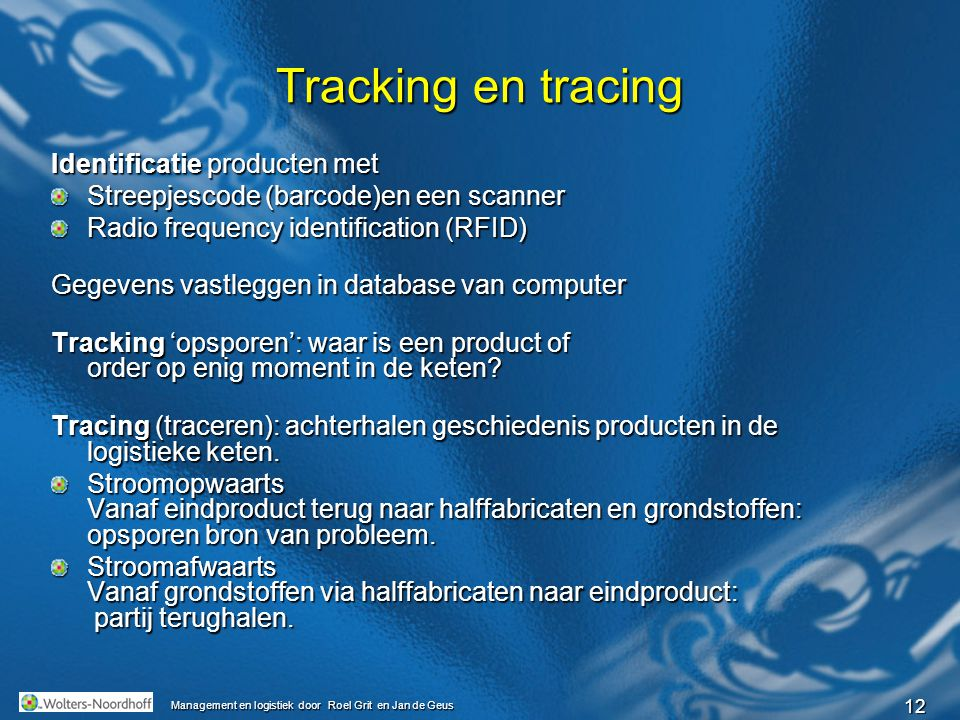 Tracking en tracing Identificatie producten met