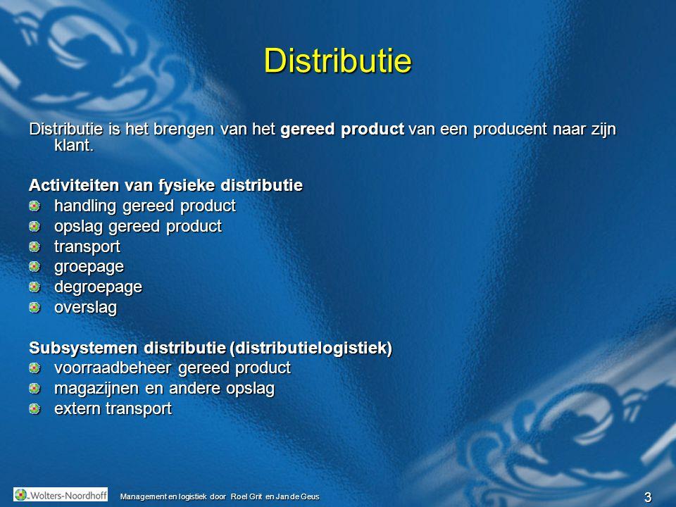 Distributie Distributie is het brengen van het gereed product van een producent naar zijn klant. Activiteiten van fysieke distributie.