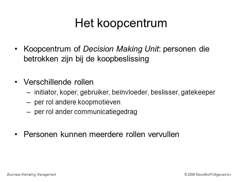 Het koopcentrum Koopcentrum of Decision Making Unit: personen die betrokken zijn bij de koopbeslissing.