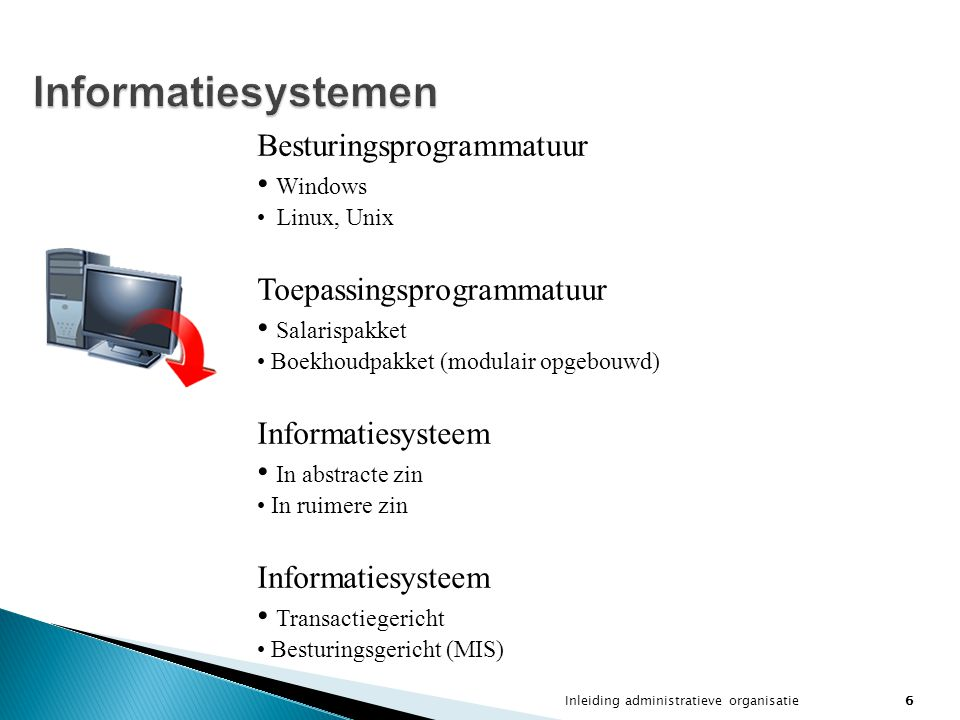 Informatiesystemen Besturingsprogrammatuur Windows