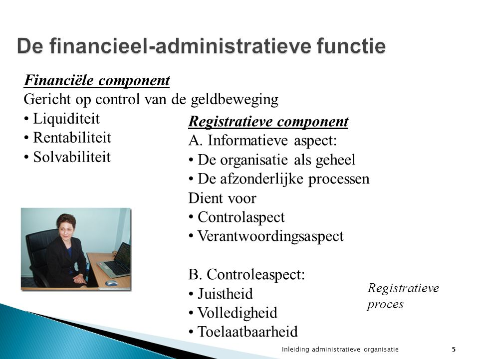 De financieel-administratieve functie