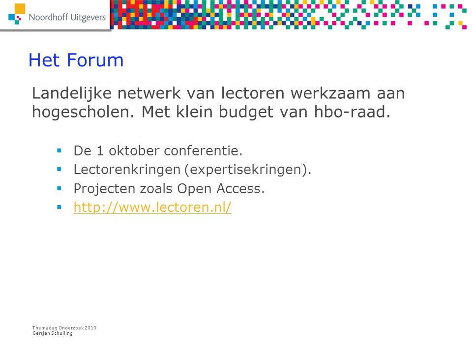 Het Forum Landelijke netwerk van lectoren werkzaam aan hogescholen. Met klein budget van hbo-raad. De 1 oktober conferentie.
