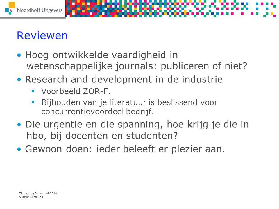 Reviewen Hoog ontwikkelde vaardigheid in wetenschappelijke journals: publiceren of niet Research and development in de industrie.