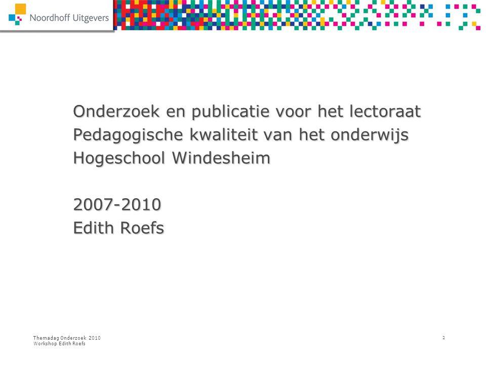 Onderzoek en publicatie voor het lectoraat