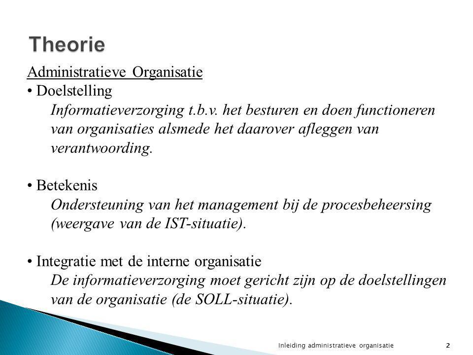 Theorie Administratieve Organisatie Doelstelling