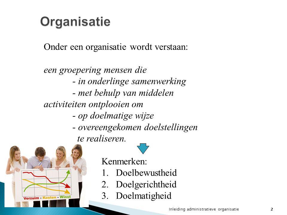 Organisatie Onder een organisatie wordt verstaan:
