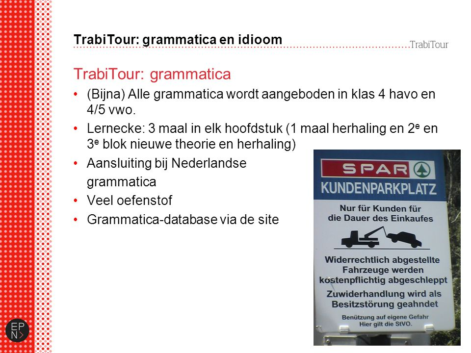 TrabiTour: grammatica en idioom