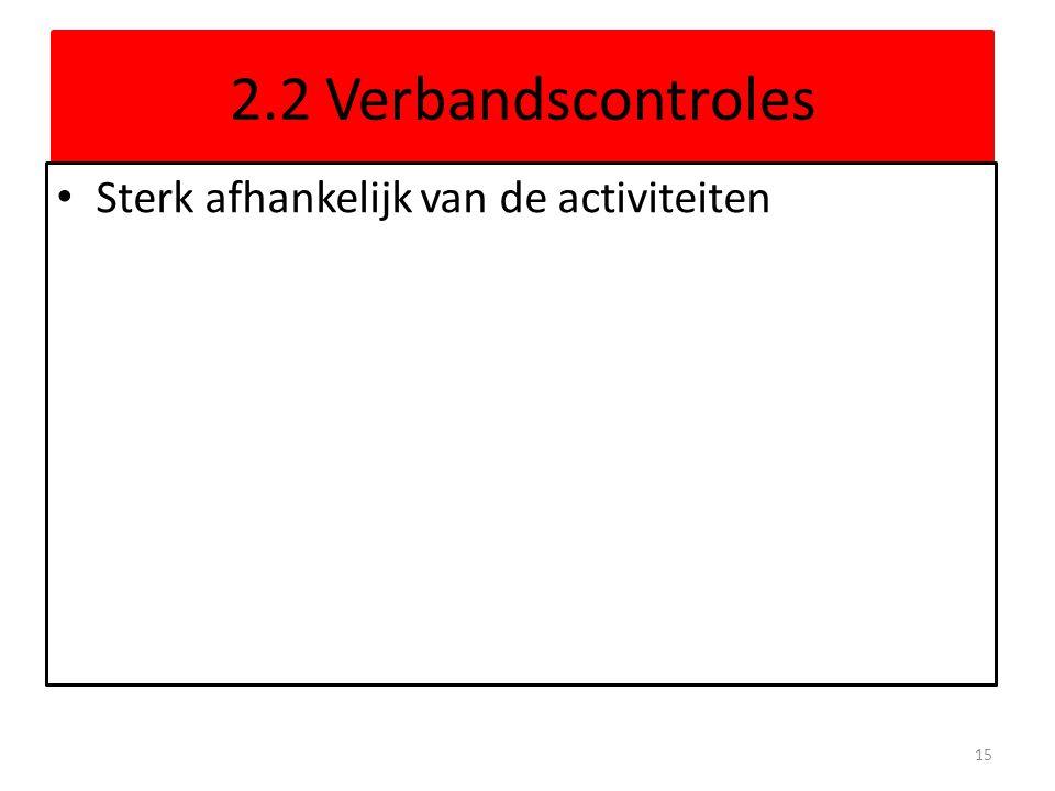 2.2 Verbandscontroles Sterk afhankelijk van de activiteiten