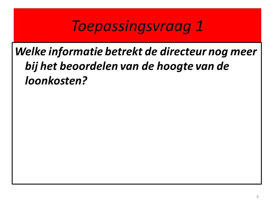 Toepassingsvraag 1 Welke informatie betrekt de directeur nog meer bij het beoordelen van de hoogte van de loonkosten