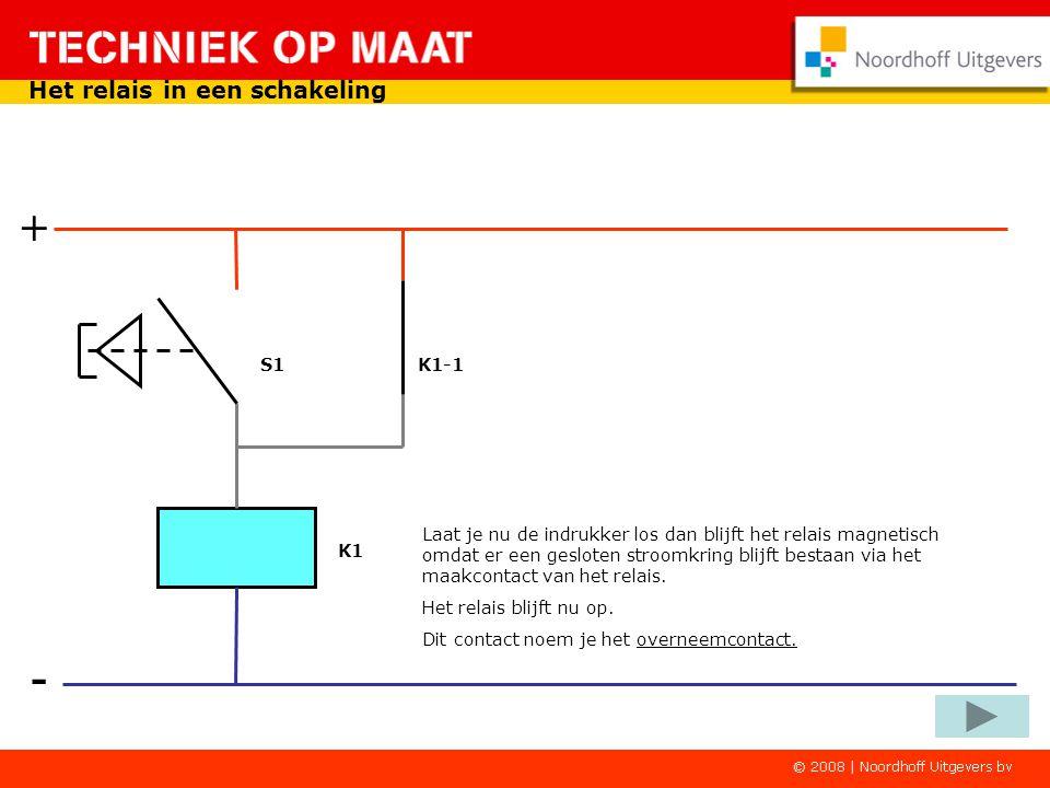 + - Het relais in een schakeling k1-1 S1 K1-1