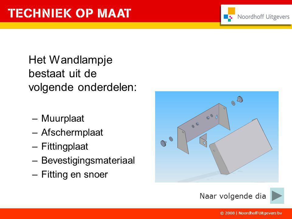 Het Wandlampje bestaat uit de volgende onderdelen: