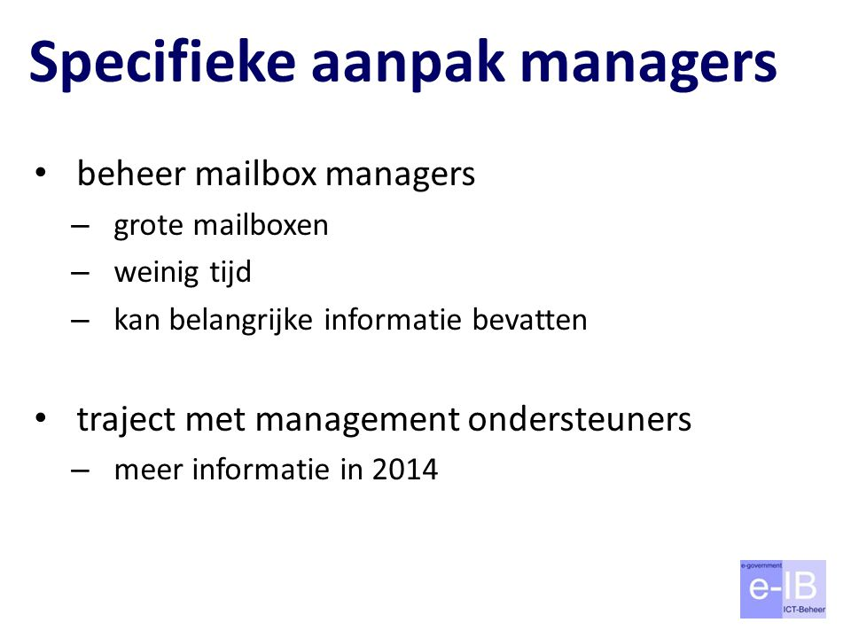 Specifieke aanpak managers