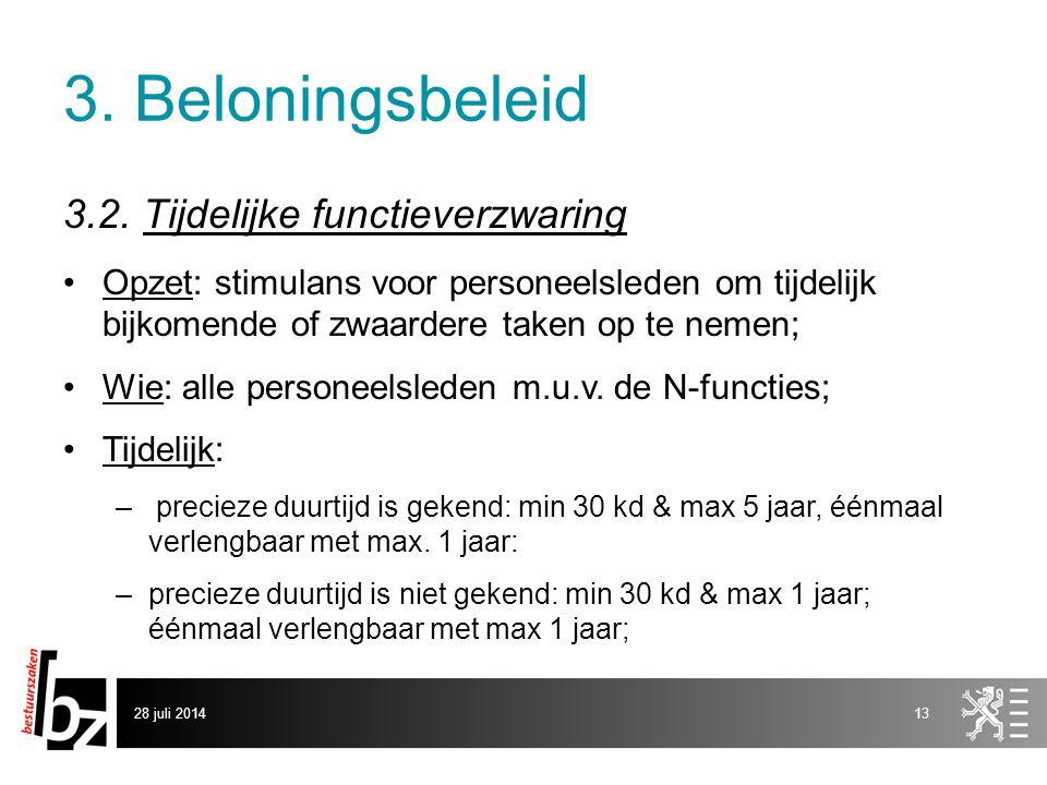 3. Beloningsbeleid 3.2. Tijdelijke functieverzwaring