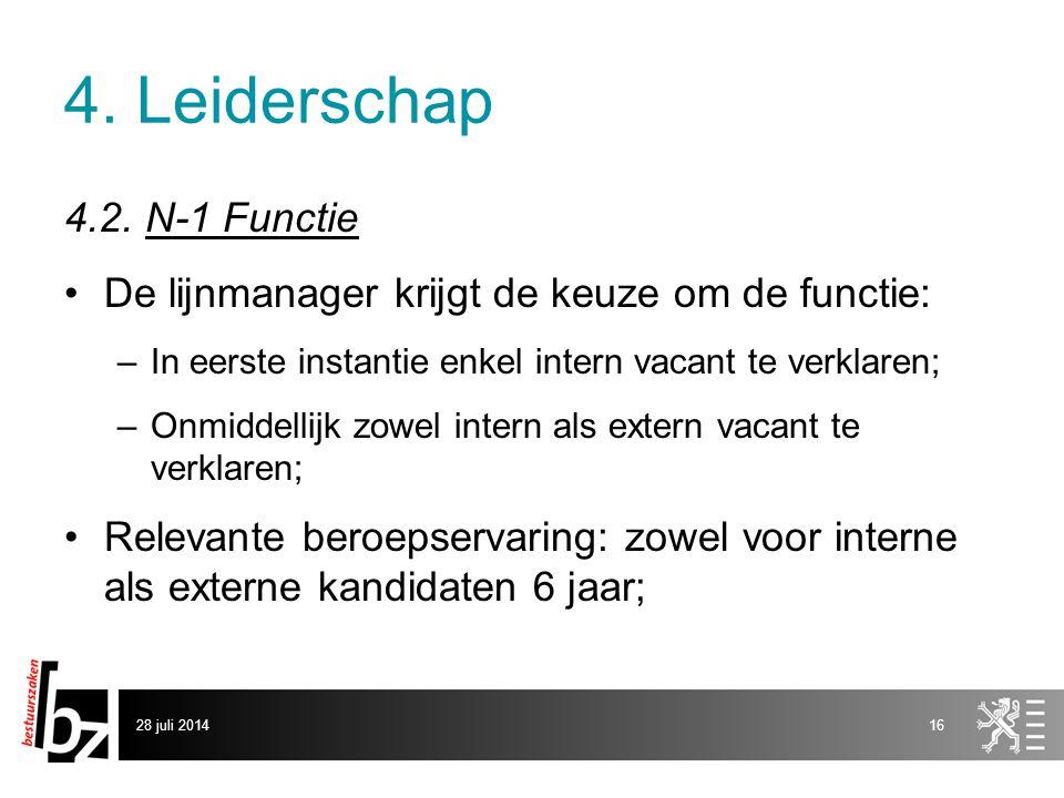 4. Leiderschap 4.2. N-1 Functie