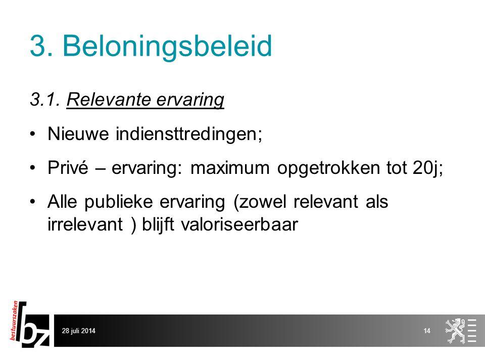 3. Beloningsbeleid 3.1. Relevante ervaring Nieuwe indiensttredingen;