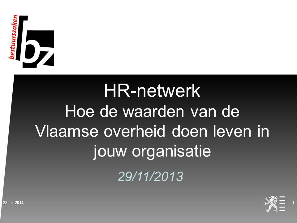 HR-netwerk Hoe de waarden van de Vlaamse overheid doen leven in jouw organisatie