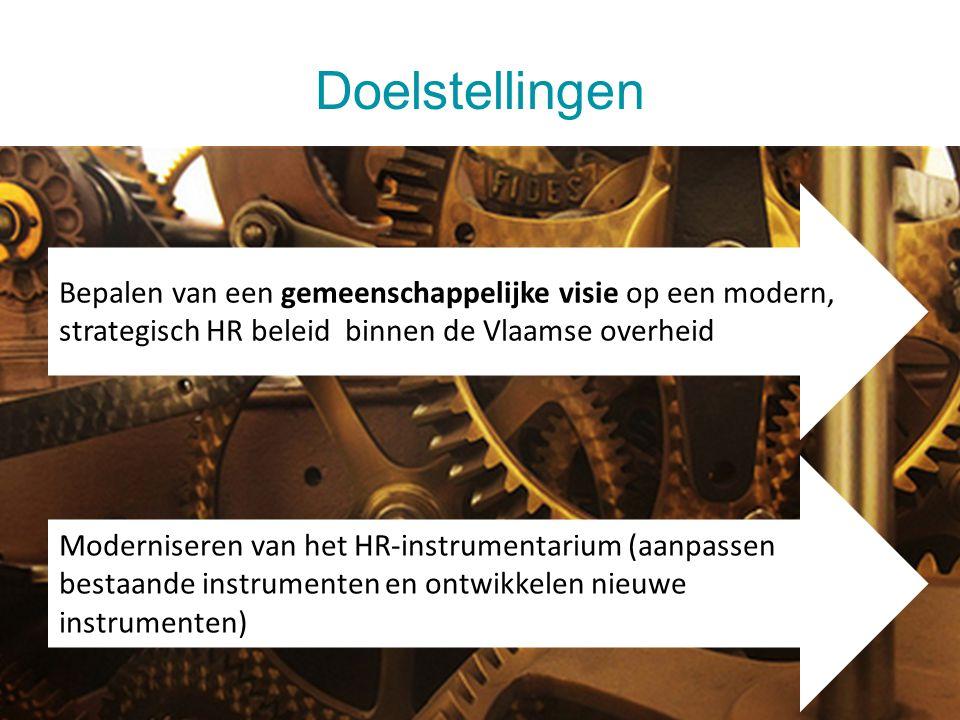 Doelstellingen Bepalen van een gemeenschappelijke visie op een modern, strategisch HR beleid binnen de Vlaamse overheid.