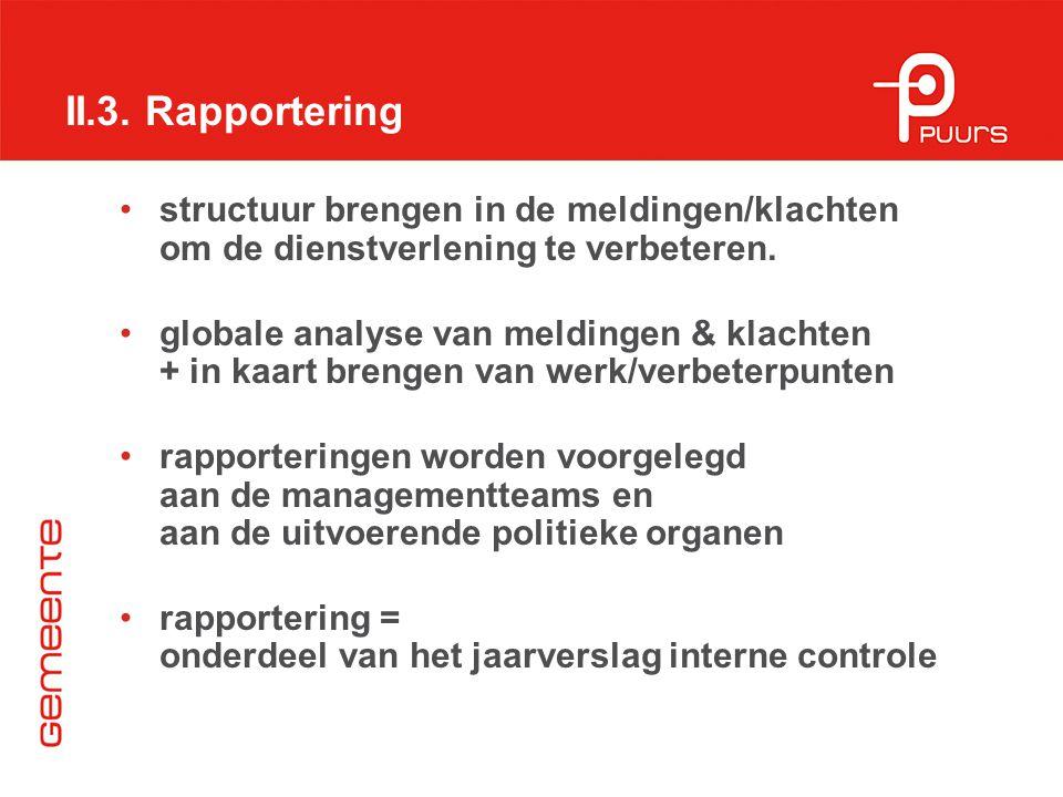 II.3. Rapportering structuur brengen in de meldingen/klachten om de dienstverlening te verbeteren.