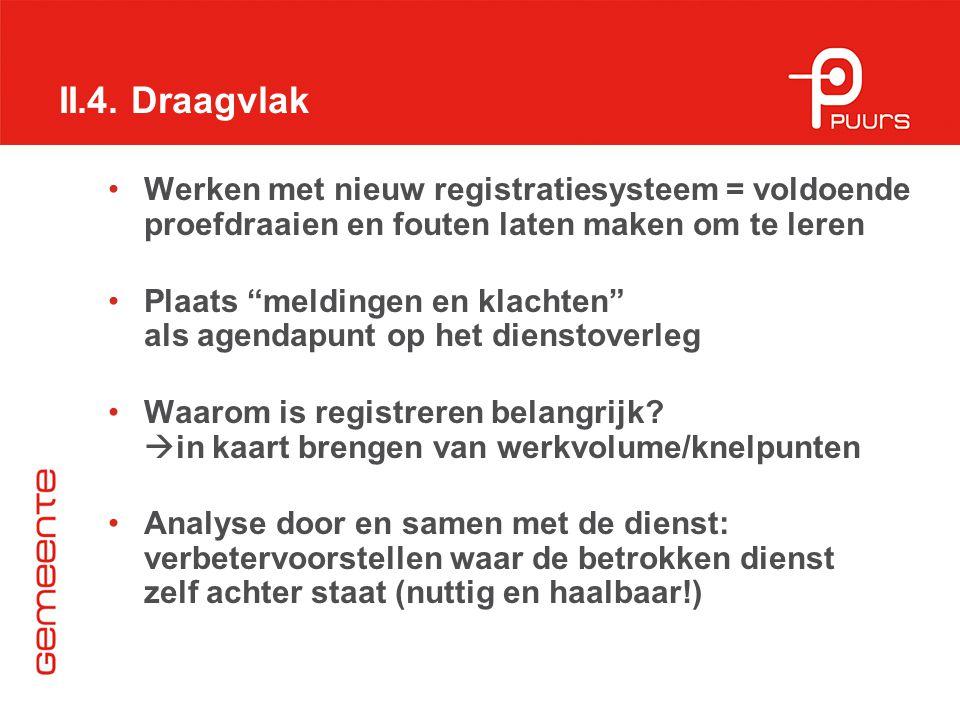 II.4. Draagvlak Werken met nieuw registratiesysteem = voldoende proefdraaien en fouten laten maken om te leren.