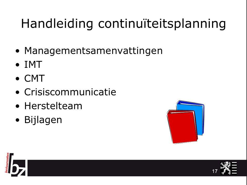 Handleiding continuïteitsplanning