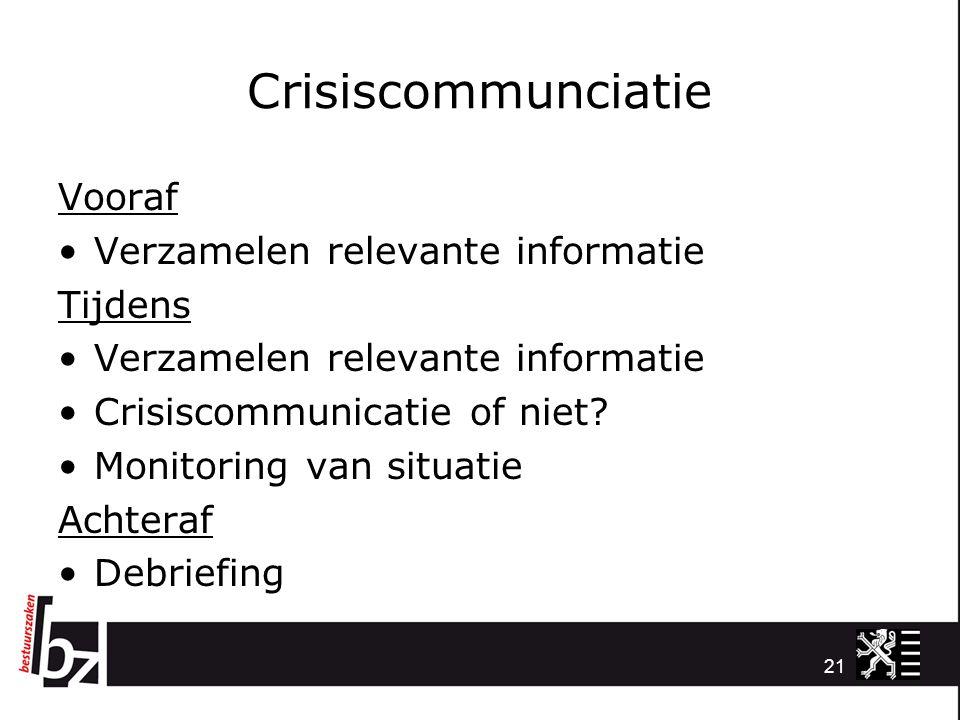 Crisiscommunciatie Vooraf Verzamelen relevante informatie Tijdens