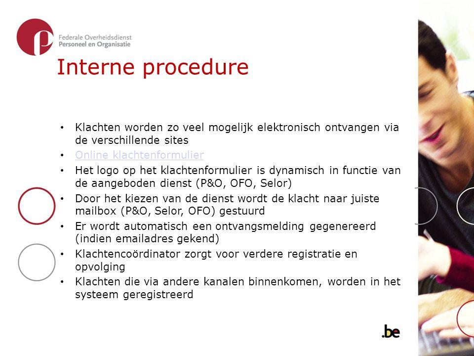 Interne procedure Klachten worden zo veel mogelijk elektronisch ontvangen via de verschillende sites.