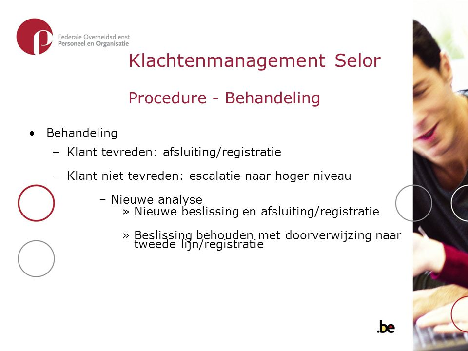 Klachtenmanagement Selor Procedure - Behandeling