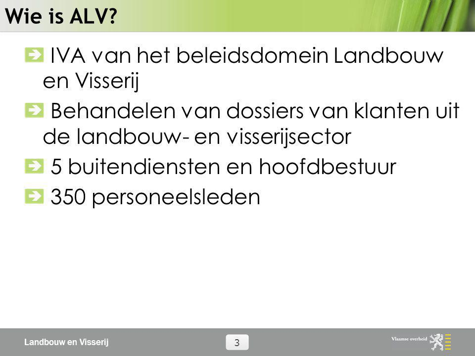 Wie is ALV IVA van het beleidsdomein Landbouw en Visserij. Behandelen van dossiers van klanten uit de landbouw- en visserijsector.