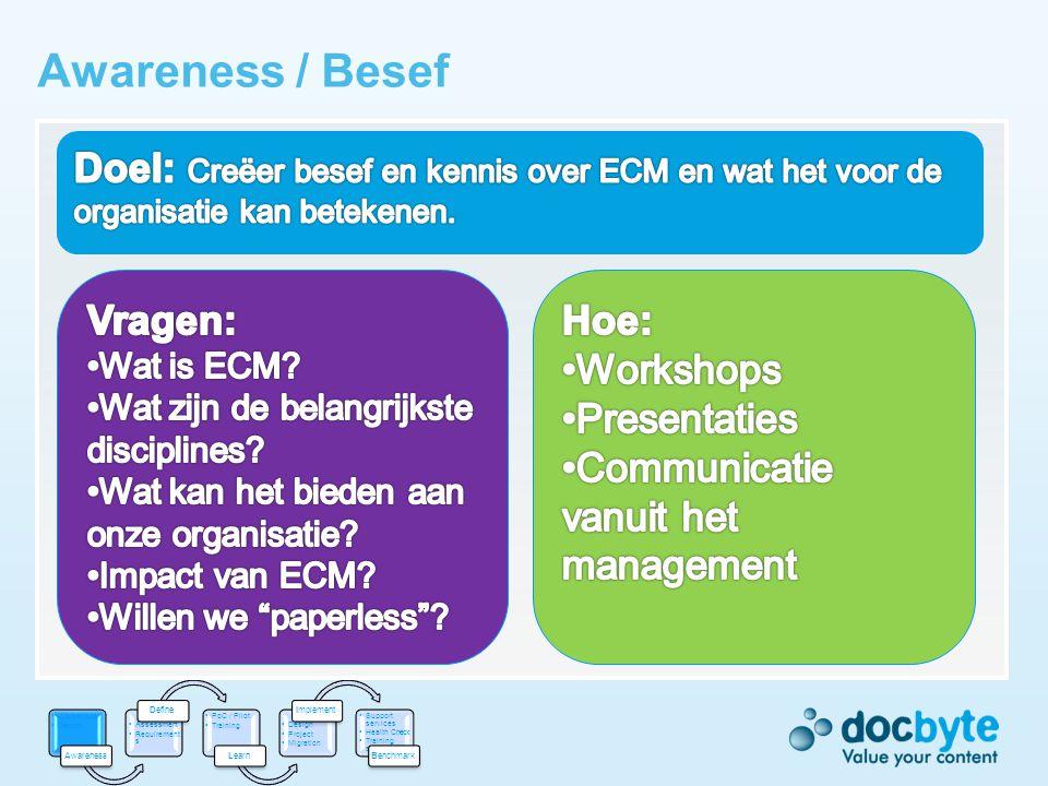 Awareness / Besef Doel: Creëer besef en kennis over ECM en wat het voor de organisatie kan betekenen.