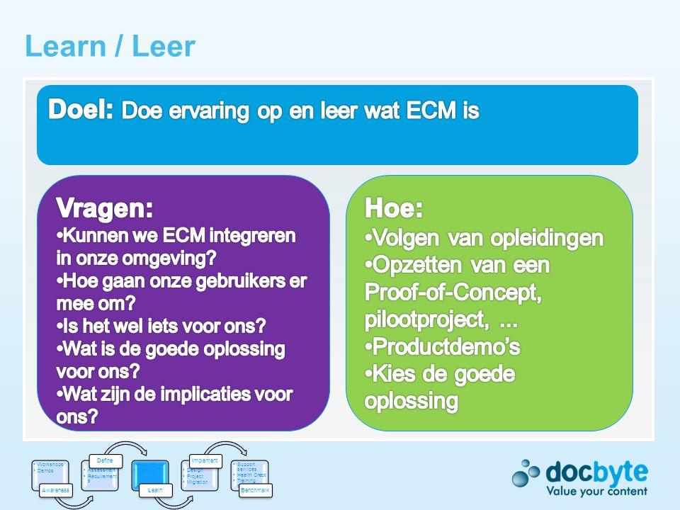 Learn / Leer Doel: Doe ervaring op en leer wat ECM is Vragen: Hoe: