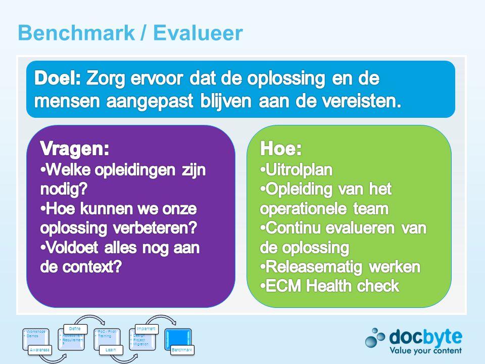 Benchmark / Evalueer Doel: Zorg ervoor dat de oplossing en de mensen aangepast blijven aan de vereisten.