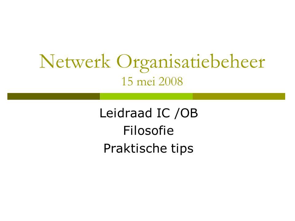 Netwerk Organisatiebeheer 15 mei 2008