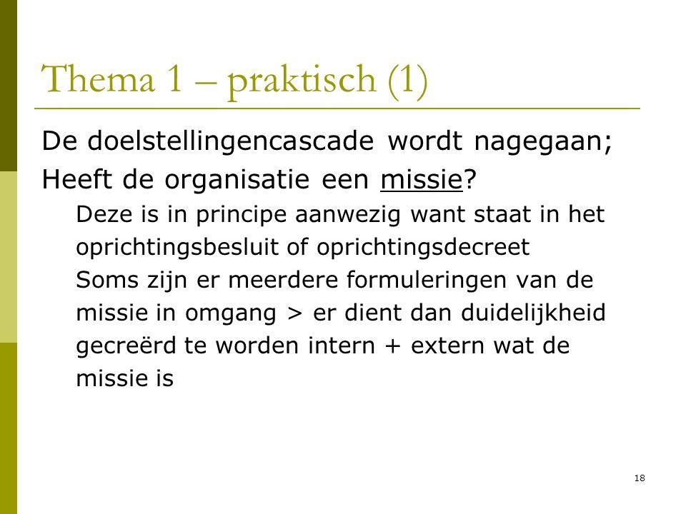 Thema 1 – praktisch (1) De doelstellingencascade wordt nagegaan;