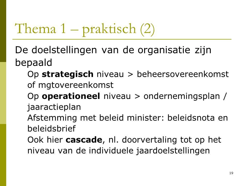 Thema 1 – praktisch (2) De doelstellingen van de organisatie zijn