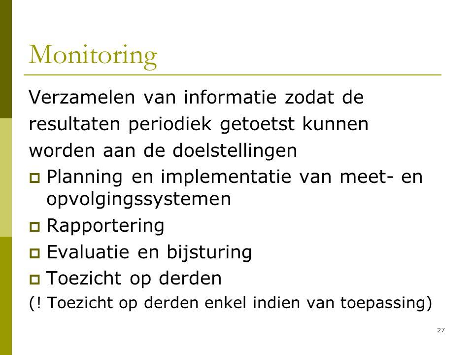 Monitoring Verzamelen van informatie zodat de
