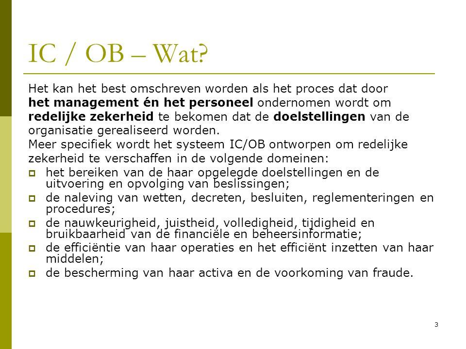 IC / OB – Wat Het kan het best omschreven worden als het proces dat door. het management én het personeel ondernomen wordt om.