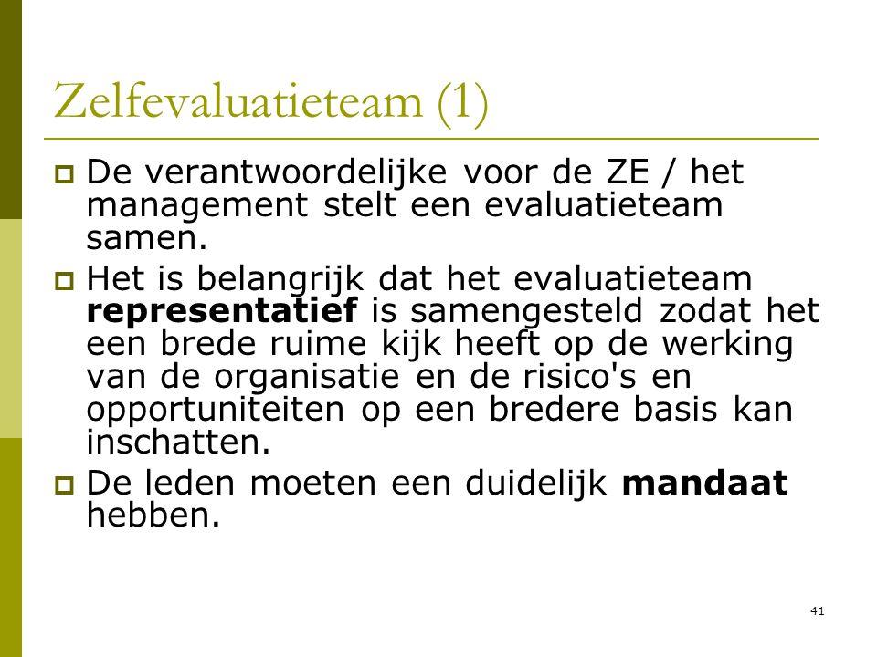 Zelfevaluatieteam (1) De verantwoordelijke voor de ZE / het management stelt een evaluatieteam samen.
