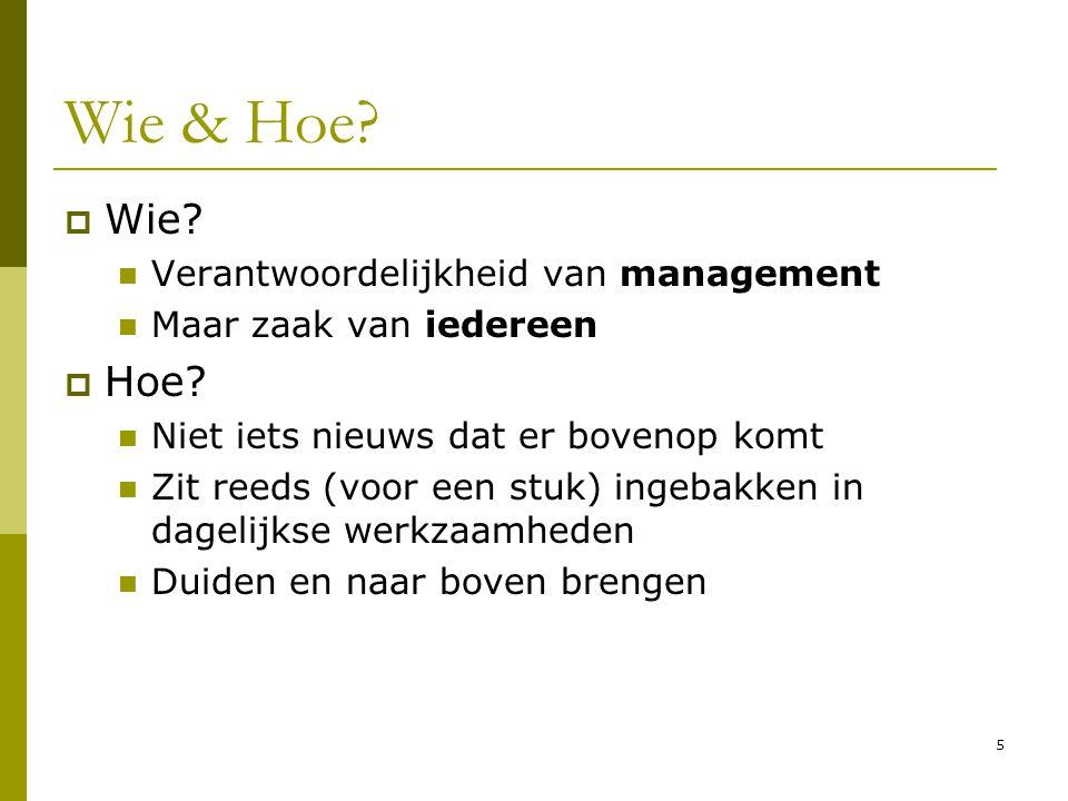 Wie & Hoe Wie Hoe Verantwoordelijkheid van management