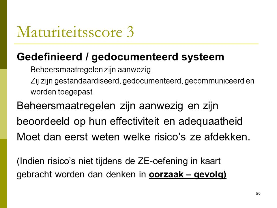 Maturiteitsscore 3 Gedefinieerd / gedocumenteerd systeem