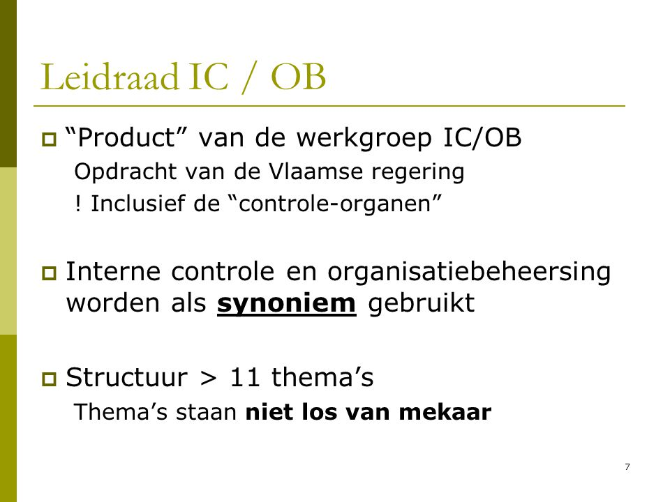 Leidraad IC / OB Product van de werkgroep IC/OB