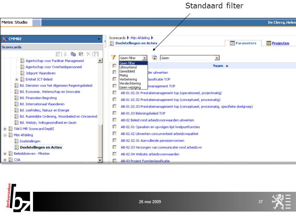 Standaard filter 26 mei 2009
