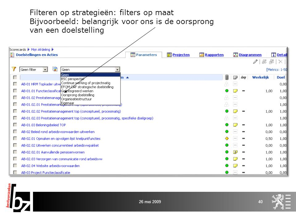 Filteren op strategieën: filters op maat