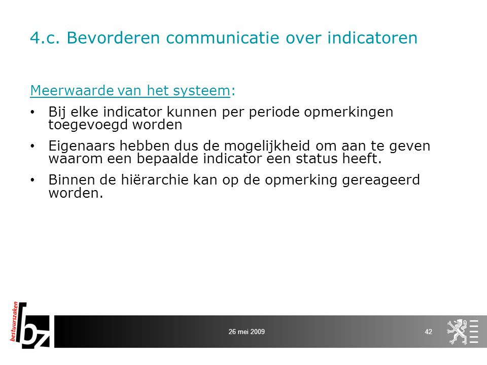4.c. Bevorderen communicatie over indicatoren