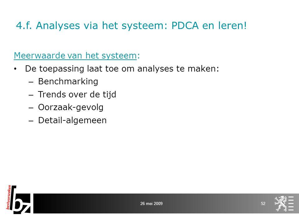 4.f. Analyses via het systeem: PDCA en leren!