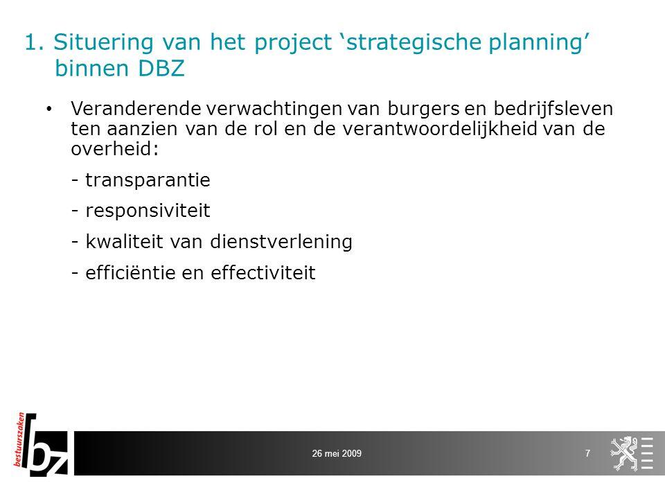 1. Situering van het project 'strategische planning' binnen DBZ