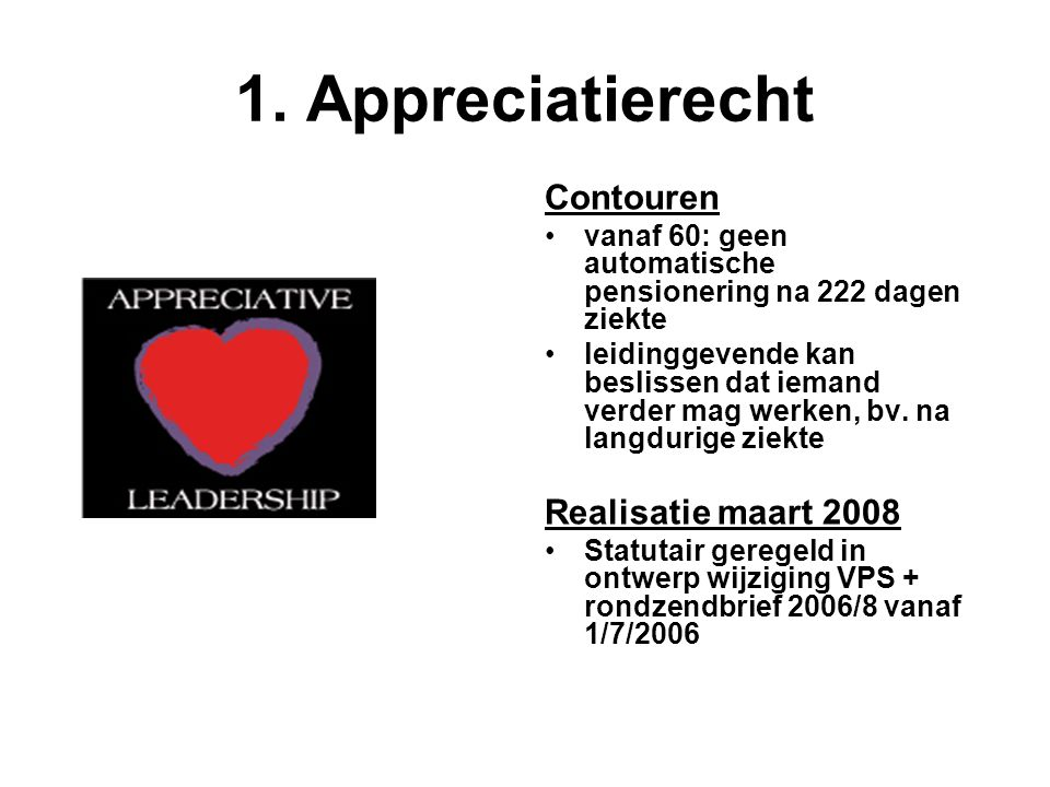 1. Appreciatierecht Contouren Realisatie maart 2008