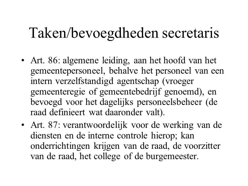 Taken/bevoegdheden secretaris