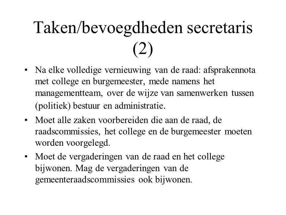 Taken/bevoegdheden secretaris (2)