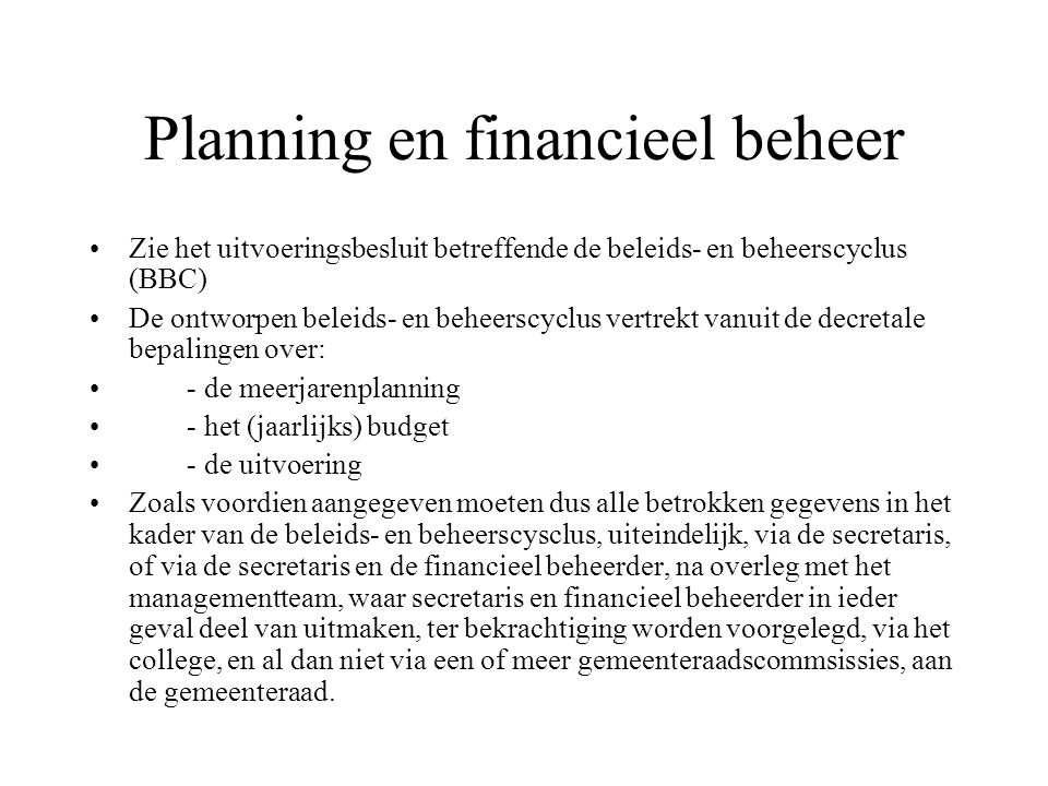 Planning en financieel beheer